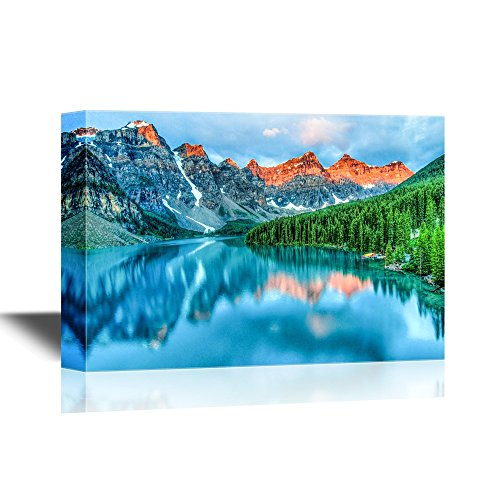 wall26 - Beautiful Nature Landscape/Scenery Canvas Wall Art - Morning Sunrise at Moraine Lake in Banff National Park - Gallery Wrap Modern Home Decor | Ready to Hang - 24x36 inches