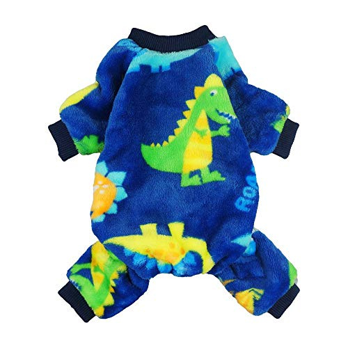 Fitwarm Dinosaur Pet Clothes for Dog Pajamas Coat Cat PJS Jumpsuit Soft Velvet Blue Large