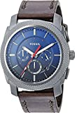 Fossil Men's 'Machine Chrono' Quartz Stainless Steel and Leather Casual Watch, Color:Grey (Model: FS5388)