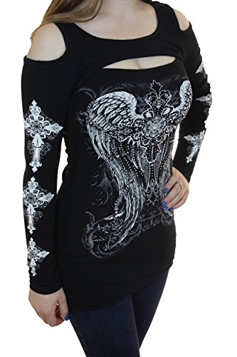 - Bling Bling Rhinestone Tattoo Cross Rose Wings Peekaboo Cutout Shoulders New Top