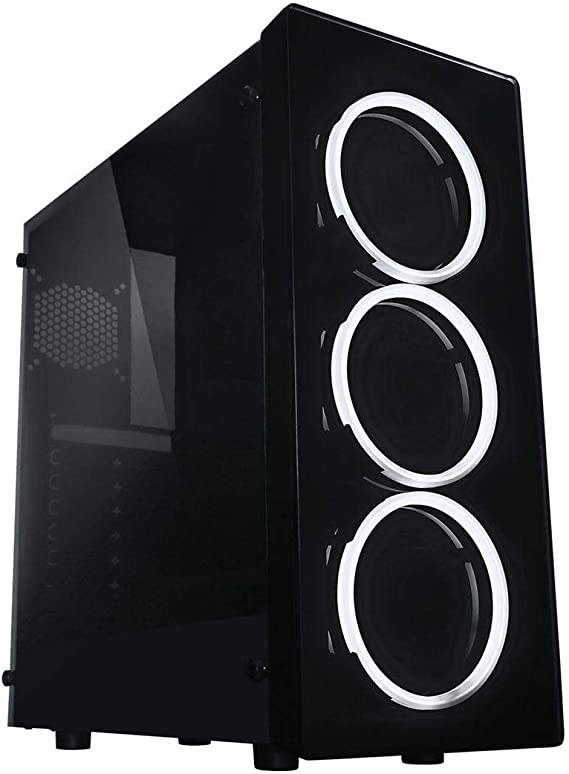 Raidmax NEON Gaming Computer Case See-Through Front and Side Panel with 3 White LED Front Fans Pre-Installed