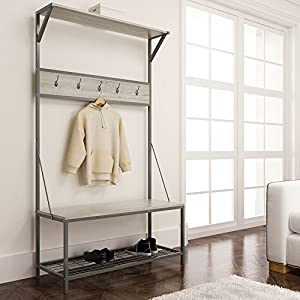 eHomeProducts Weathered Oak Metal Entryway Shoe Bench with Coat Rack Hall Tree Storage Organizer 5 Hooks in Gunmetal Finish