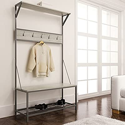 eHomeProducts Weathered Oak Metal Entryway Shoe Bench with Coat Rack Hall Tree Storage Organizer 5 Hooks in Gunmetal Finish - Finish: Weathered Oak and Gunmetal Material: Metal and Hardwood Comes with 5 Hooks to store your Coat, Jacket, Hats, Purse, etc. - hall-trees, entryway-furniture-decor, entryway-laundry-room - 51mulSSXLGL. SS400  -