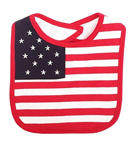 stylesilove Patriotic US American Flag Waterproof Baby Feeding Bib - 0-1 Year