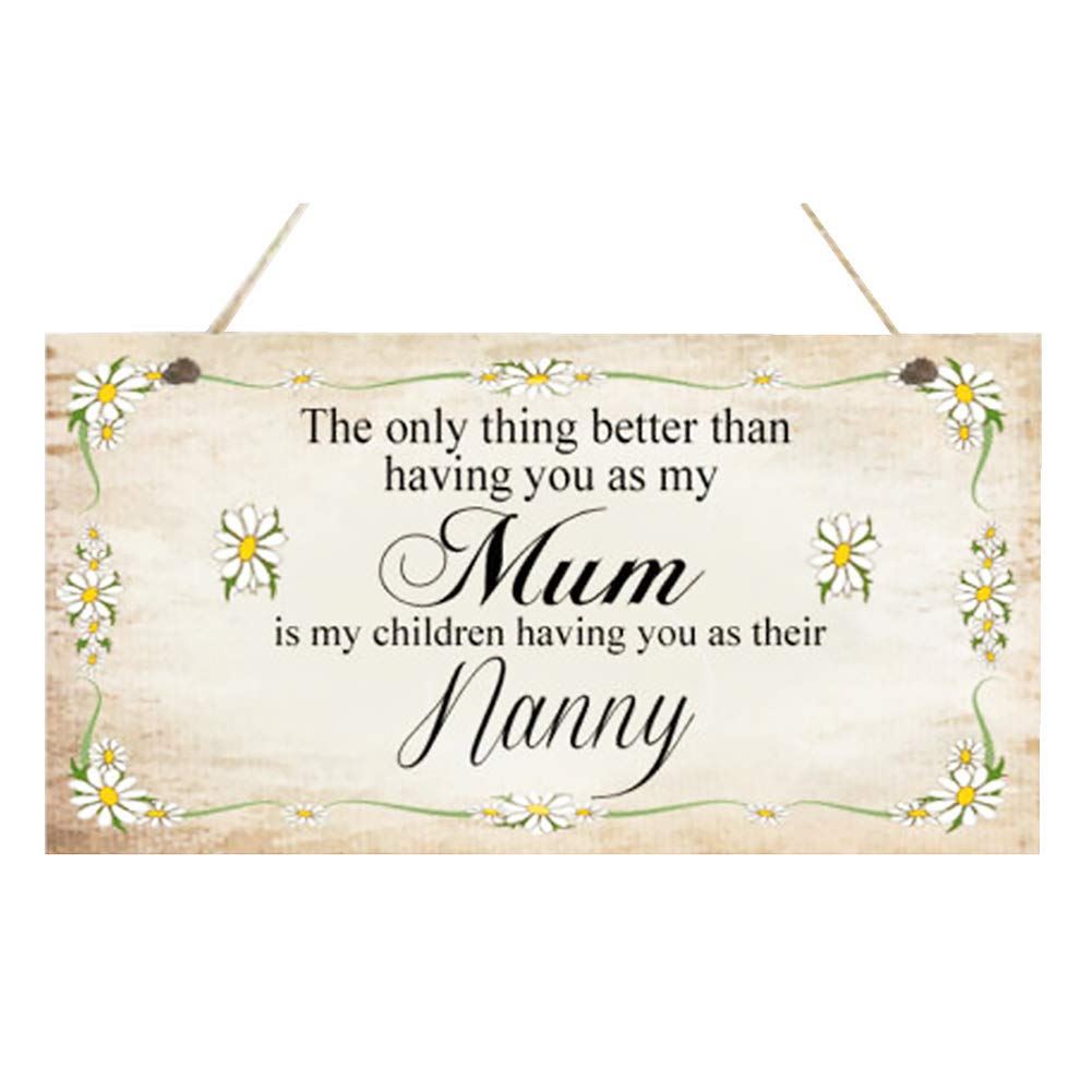 Unicoco Mothers Day Wooden Hanging Plaque Mum Nanny Birthday Gift Warm Words for Mum Nanny Sign Plaque