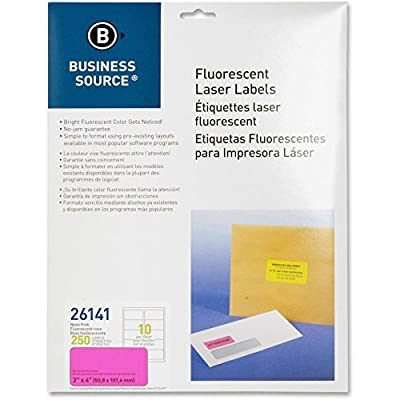 Business Source Pink Fluorescent Laser Labels - Pack of 250