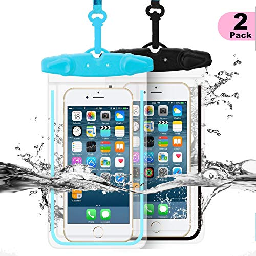 Universal Waterproof Case, WJZXTEK 2 Pack Dry Bag Phone Pouch Clear Sensitive PVC Touch Screen Compatible for iPhone 11 XR XS X 8 8PLUS 7 7PLUS 6S Samsung Galaxy S9 S8 S7 HTC10 Google Sony Nokia