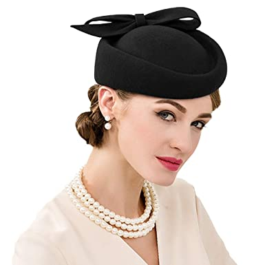 0b8467afc8d9e FADVES British Style Pillbox Hat Retro Wool Fascinator Wedding Derby Church  Party Hats Black