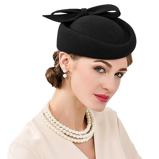 8ca22524a05 FADVES British Style Pillbox Hat Retro Wool Fascinator Wedding Derby Church  Party Hats Black