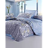 NYHE Light Purple Color Duvet Cover Fashion Comfortable Flower Printed Full/Queen/King Size , queen-light purple