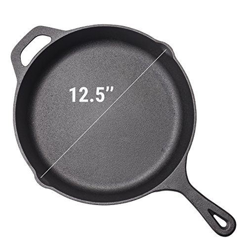 Pre-Seasoned Cast Iron Skillet – 12.5 Inch | Superb Heat Retention | Heavy Duty Nonstick Bakeware| Evenly Cooking | Nonstick Frying Pan | Rust Resistant | for Home Cooking & Commercial Kitchen by Homerware (Image #1)