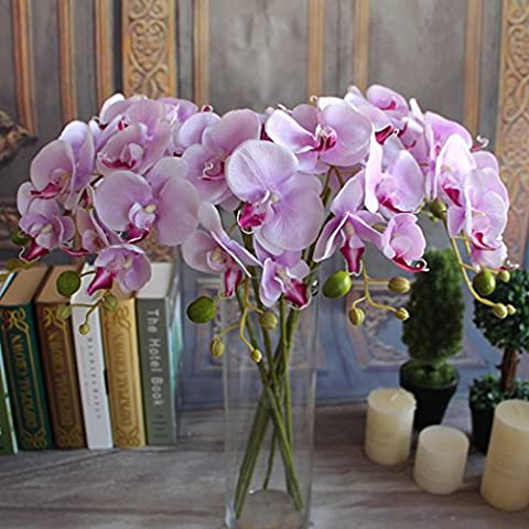 Artificial Orchid Silk Flowers for Wedding Party Home Decor, Light Purple