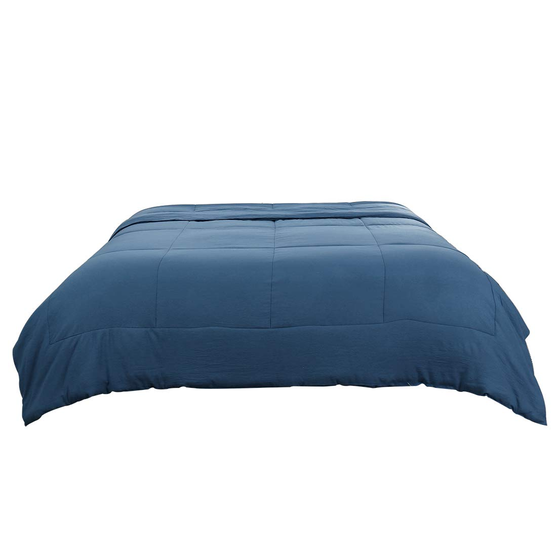 PiccoCasa Full/Queen Blue 100% Washed Cotton Quilted Comforter - Duvet Insert/Stand Along Comforter - Reversible Design - Machine Washable - 88 by 88 inches