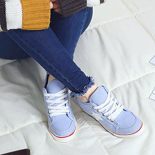 Platform Pump 3 Light Sneaker Canvas Wedge Blue Fashion Heeled Women's Shoes gRBwfqYtRn