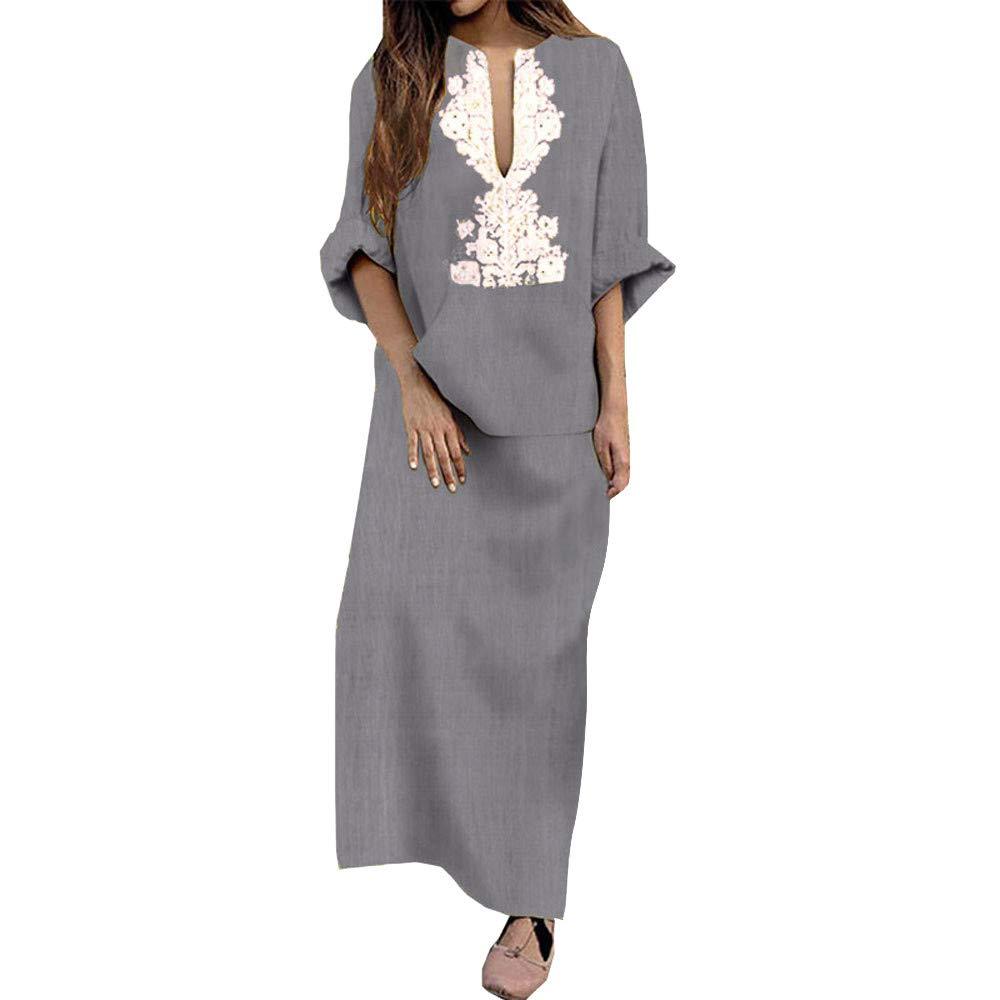 Zainafacai Fashion Womens Long Sleeve V-Neck Maxi Dress Loose Baggy Kaftan Sundress