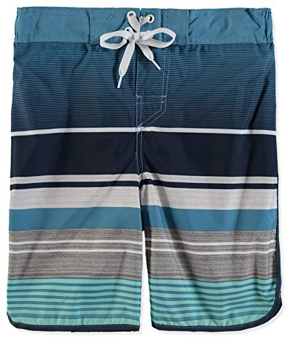 Rusty Boys Mesh Lined Swim Trunks (Blue/Green Stripe, -