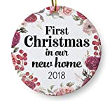 First Christmas in Our New Home 2018 Christmas Ornament, Housewarming Gift, Homeowner Present, 3'' Flat Ceramic Ornament with Gift Box