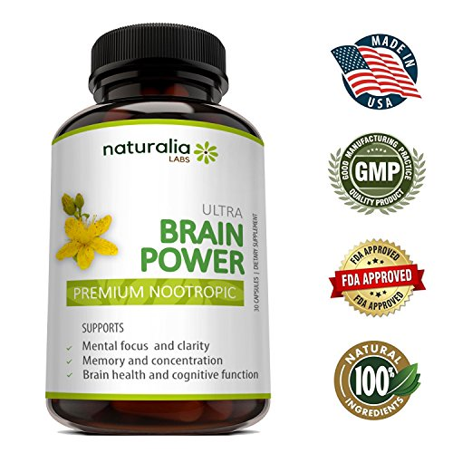 Naturalia Labs – Focus Supplement – Advanced Brain Power – Improve Memory & Brain Function Support – Anti Anxiety – Natural Ingredients – Ginko Biloba, St John's Wort, Bacopa Monnieri – 30 Days Supply Review