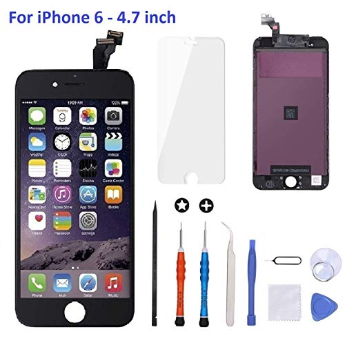 iPhone 6 Screen Replacement Black,Goldwangwang 4.7inch LCD Touch Screen Digitizer Replacement Fully Frame Display Assembly Set with Repair Tool kit + Tempered Glass Screen Protector + Instruction (Iphone 6 Shattered Screen)
