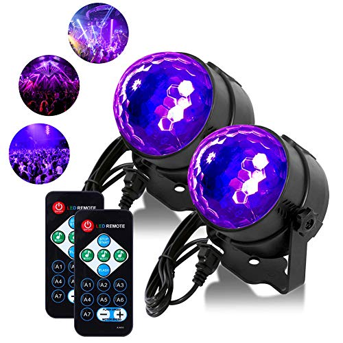 [2 Pack] Litake UV Black Lights 3W LED Disco Ball Party Lights Strobe Light Disco Lights, Sound Activated with Remote Control Dj Lights Stage Light for Festival Bar Club Party Wedding Show Home -