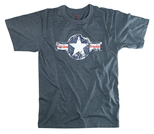 Blue Vintage Army Air Corp Distressed T-shirt (Large) Army Air Corp Blue T-shirt