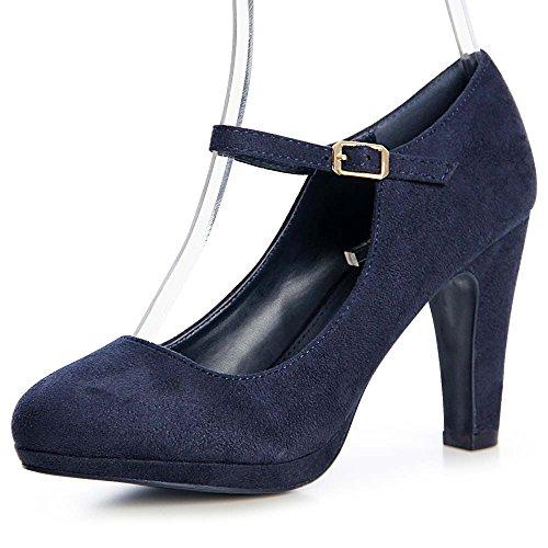 topschuhe24 1313 Damen Riemchen Pumps High Heels Velours Blau