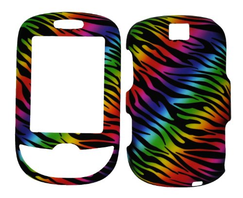 (Dark Rainbow Zebra Rubberized Snap on Protective Cover Case for Samsung Smiley T359)