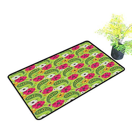 ats Bright Floral Pattern with Vivid Paisley Print Old Vintage Boho Style Pistachio Use for Entrance Outside Doormat Patio W35 x H23 INCH ()