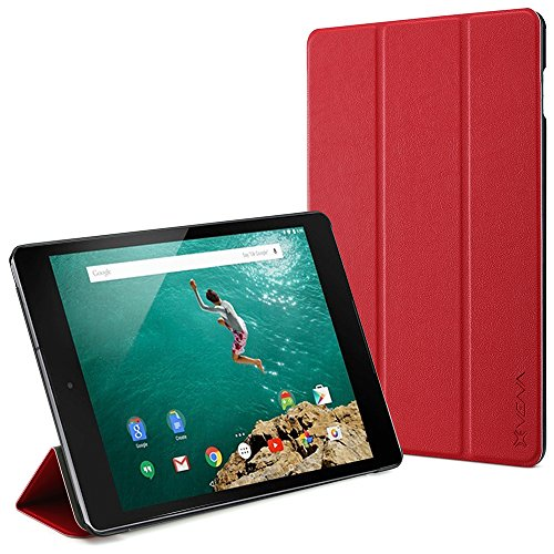 Google Nexus 9 Smart Cover - VENA [vCover] Slim Leather Auto Sleep / Wake Hard Shell Case for Google Nexus 9 Tablet (Red)
