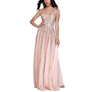 ca9ad8f499 Unions Women Double V Neck Sleeveless Sequin Prom Gown A-Line Long Formal  Evening Dress