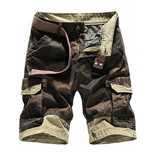 WDDGPZDK Strand Shorts/Sommer Camouflage Cargo Shorts Men Casual Cotton Beach Männliche Herren Shorts Männlich [Ohne Gürtel]