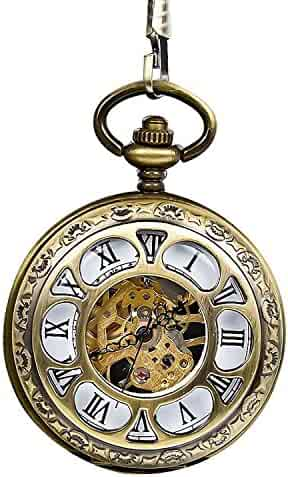 Carrie Hughes Full Hunter Steampunk mechanical Skeleton Hand-wind pocket watch with Chain Bronze CH307
