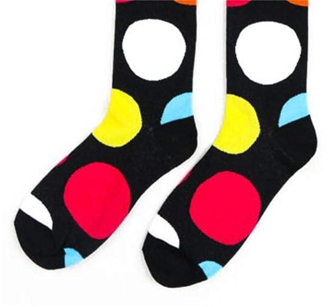 Diario Calcetines de dibujos animados de hombres calcetines coloridos de grandes puntos medias Suave (Color