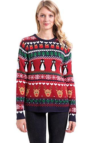 Christmas Women Loose Santa Knit Longsleeve Sweatshirt Sweater Fleece Ugly Pullover Xmas Penguins M=US 8-10