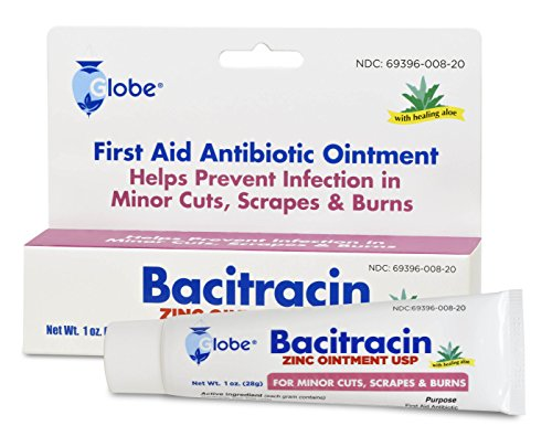 Bacitracin Zinc 1 oz Tube. Firtst Aid Antibiotic Ointment Helps to Prevent Infection in Minor cuts, scrapes and Burns.