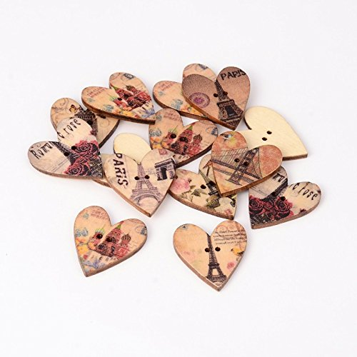 Heart Paris Themed Printed Wooden 2 Hole Sewing Buttons Qty 100 28x25x3mm / 2mm Hole