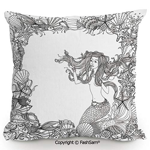 Throw Pillow Covers Mermaid in Artsy Seashells Starfish Coral Reef Frame Ancient Culture Myth Artwork for Couch Sofa Home Decor(20