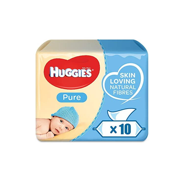 Huggies Pure Baby Wipes – Pack of 10 (10 x 56 Packs, Total 560 Wipes)
