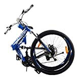 "Image of Camp Alloy 26"" Folding Bike 21 Speed Dual Suspension Mountain Bike Rocky"