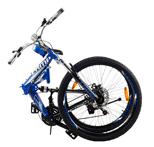 "Camp Alloy 26"" Folding Bike 21 Speed Dual Suspension Mountain Bike Rocky"