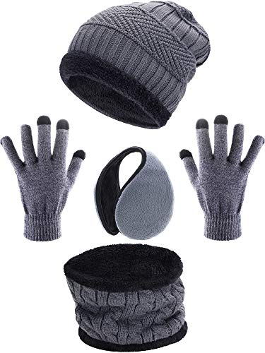 Tatuo 4 Pieces Ski Warm Set includes Winter Hat Scarf Warmer Gloves Winter Outdoor Earmuffs for Adults Kids (Set 2)