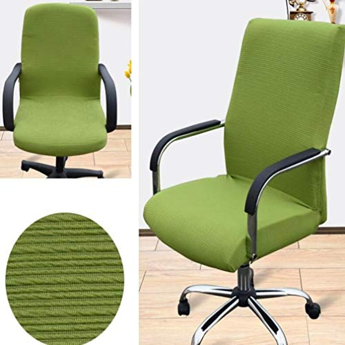 Chair Cover Siamese Swivel Armchair Elastic Solid Color Stretch Tight Wrap Office Computer Rotating Seat Case