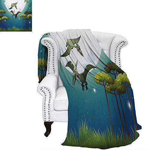 warmfamily Dinosaur Summer Quilt Comforter Cartoon Style Dinosaurs Flying on Full Moon Magical Night Enchanted Forest Digital Printing Blanket 70