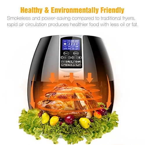 SimpleTaste 1400W Multi-function Electric Air Fryer with Rapid Air Circulation Technology, Smart Programs with Automatic and Manual Timer & Temperature Controls, 3.2 QT by SimpleTaste (Image #4)