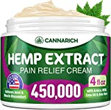 Pain Relief Hemp Cream | 4oz - 450,000 Hemp Extract - Natural Formula/MSM, Aloe Vera, Emu Oil & Menthol - Made in USA - Perfect for Joint, Muscle, Sciatica & Back Pain - Rich in Omega 3-6-9