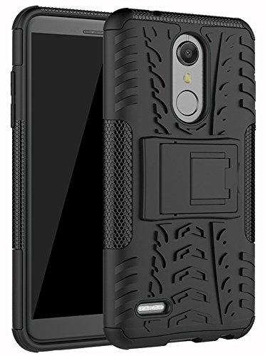 LG K30 Case, LG Phoenix Plus Case,LG Premier Pro LTE Case,LG K10 Alpha,LG K10 2018 Case, Yiakeng Dual Layer Shockproof Wallet Slim Protective with Kickstand Hard Phone Cover (Black)