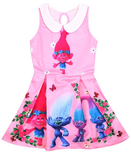 AOVCLKID Trolls Costume For Toddler Kids Party Princess Dress Little Girls Dress Up (120/4-5Y, Pink)