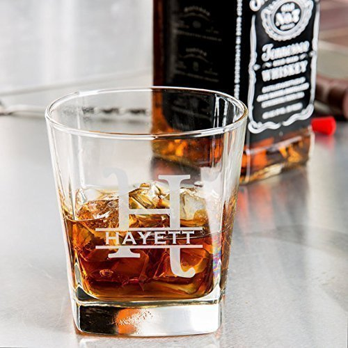 Personalized whiskey glass, Engraved whiskey glass, Monogram design whiskey glass 9.25 oz. by RCH Gifts