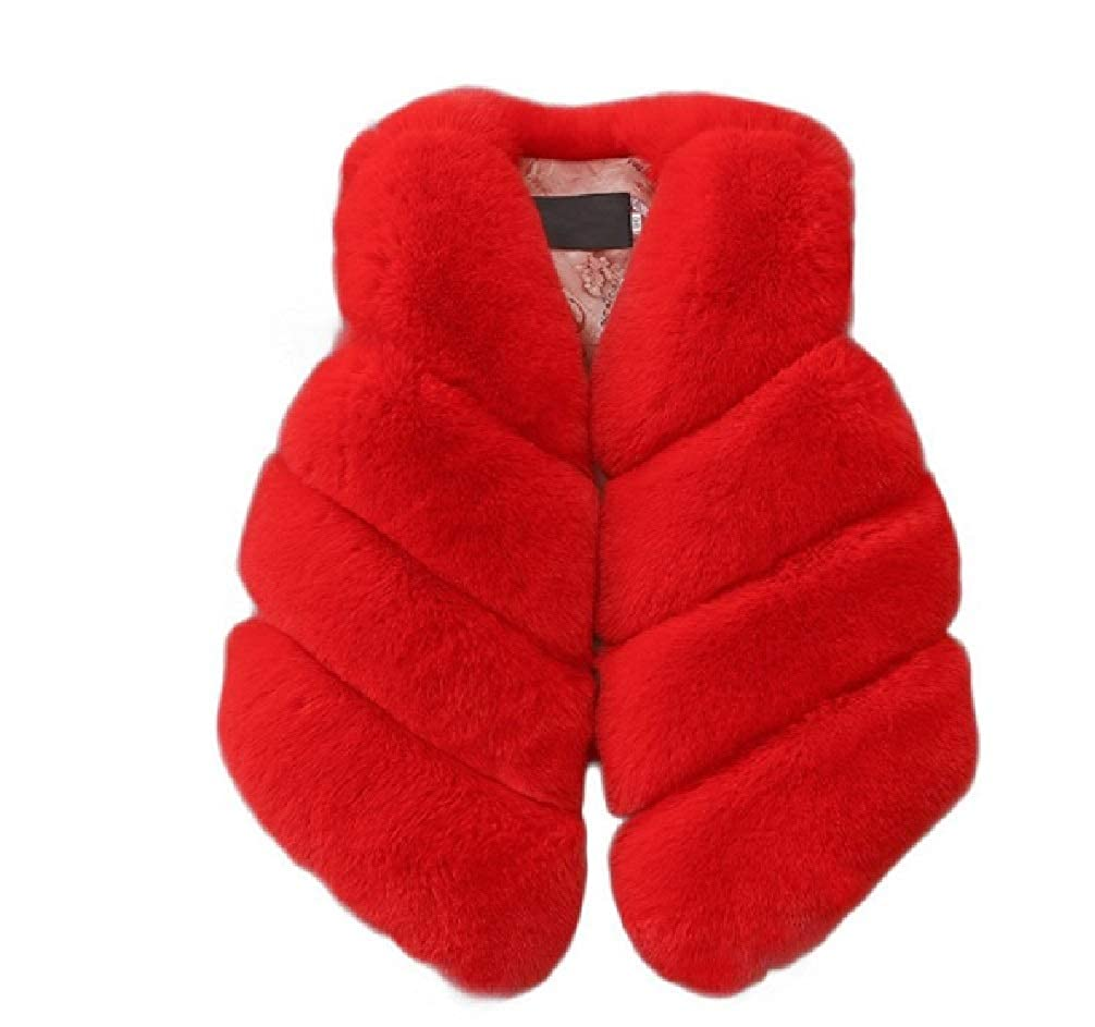 Plush Faux Fur Vest in Red from Chunks of Charm