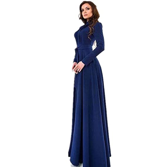 DOGZI Mujer Vestidos Color sólido Manga Larga Corte Ajustado Falda Larga Vestido de cóctel Azul Oscuro